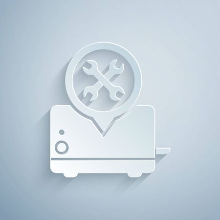 Paper cut Toaster with screwdriver and wrench icon isolated on grey background. Adjusting, service, setting, maintenance, repair, fixing. Paper art style. Vector Illustration Ilustração