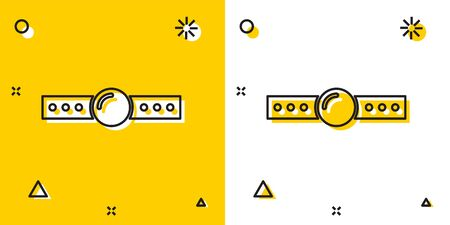 Black Silicone ball gag with a leather belt icon isolated on yellow and white background. Fetish accessory. Sex toy for men and woman. Random dynamic shapes. Vector Illustration