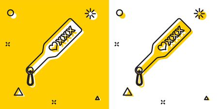 Black Spanking paddle icon isolated on yellow and white background. Fetish accessory. Sex toy for adult. Random dynamic shapes. Vector Illustration Illustration