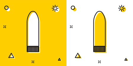 Black Dildo for games icon isolated on yellow and white background. Sex toy for adult. Vaginal exercise machines for intimate. Random dynamic shapes. Vector Illustration
