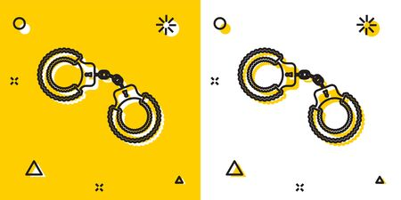 Black Sexy fluffy handcuffs icon isolated on yellow and white background. Handcuffs with fur. Fetish accessory. Sex shop stuff for sadist and masochist. Random dynamic shapes. Vector Illustration