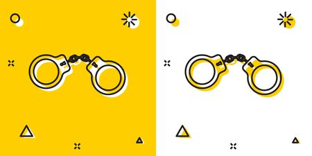 Black Handcuffs icon isolated on yellow and white background. Random dynamic shapes. Vector Illustration