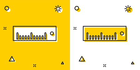 Black Ruler icon isolated on yellow and white background. Straightedge symbol. Random dynamic shapes. Vector Illustration