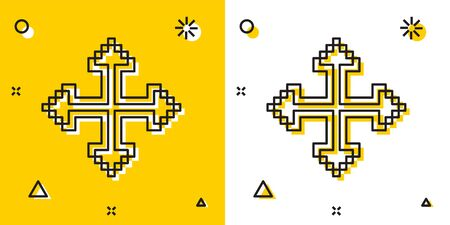 Black Pixel arrows in four directions icon isolated on yellow and white background. Cursor move sign. Random dynamic shapes. Vector Illustration