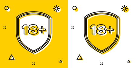 Black Shield with inscription 18 plus icon isolated on yellow and white background. Adults content only. Protection, safety, security, protect concept. Random dynamic shapes. Vector Illustration
