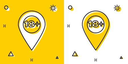 Black Map pointer with 18 plus icon isolated on yellow and white background. Age restriction symbol. 18 plus content sign. Adults content only icon. Random dynamic shapes. Vector Illustration