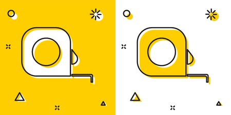 Black Roulette construction icon isolated on yellow and white background. Tape measure symbol. Random dynamic shapes. Vector Illustration Illustration