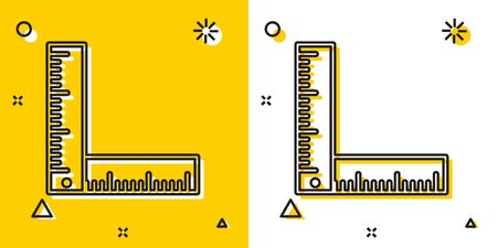 Black Folding ruler icon isolated on yellow and white background. Random dynamic shapes. Vector Illustration