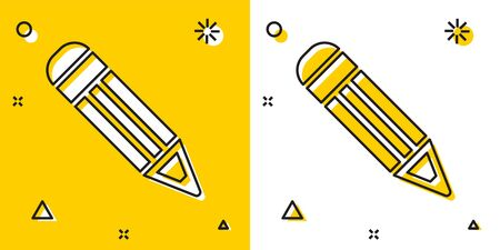 Black Pencil icon isolated on yellow and white background. Education sign. Drawing and educational tools. School office symbol. Random dynamic shapes. Vector Illustration Ilustração