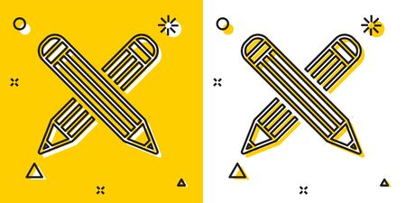 Black Crossed pencil icon isolated on yellow and white background. Education sign. Drawing and educational tools. School office symbol. Random dynamic shapes. Vector Illustration Ilustração
