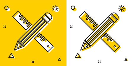 Black Crossed ruler and pencil icon isolated on yellow and white background. Straightedge symbol. Drawing and educational tools. Random dynamic shapes. Vector Illustration