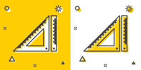 Black Triangular ruler icon isolated on yellow and white background. Straightedge symbol. Geometric symbol. Random dynamic shapes. Vector Illustration Ilustração