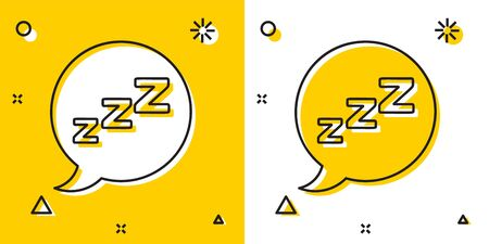 Black Speech bubble with snoring icon isolated on yellow and white background. Concept of sleeping, insomnia, alarm clock app, deep sleep, awakening. Random dynamic shapes. Vector Illustration