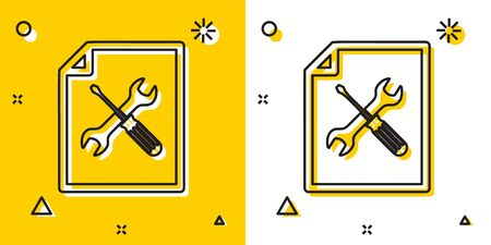 Black File document with screwdriver and wrench icon isolated on yellow and white background. Adjusting, service, setting, maintenance, repair, fixing. Random dynamic shapes. Vector Illustration 向量圖像