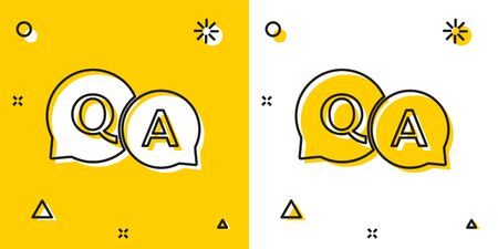 Black Speech bubbles with Question and Answer icon isolated on yellow and white background. Q and A symbol. FAQ sign. Chat speech bubble and chart. Random dynamic shapes. Vector Illustration