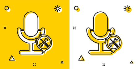 Black Microphone with screwdriver and wrench icon isolated on yellow and white background. Adjusting, service, setting, maintenance, repair, fixing. Random dynamic shapes. Vector Illustration Stock Illustratie