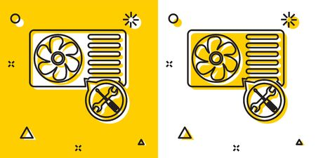 Black Air conditioner with screwdriver and wrench icon isolated on yellow and white background. Adjusting, service, setting, maintenance, repair, fixing. Random dynamic shapes. Vector Illustration