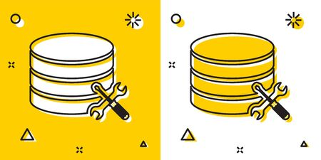 Black Database server with screwdriver and wrench icon isolated on yellow and white background. Adjusting, service, setting, maintenance, repair, fixing. Random dynamic shapes. Vector Illustration