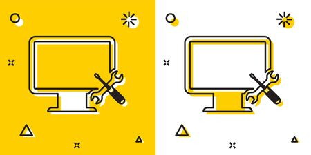 Black Computer monitor with screwdriver and wrench icon isolated on yellow and white background. Adjusting, service, setting, maintenance, repair, fixing. Random dynamic shapes. Vector Illustration Çizim