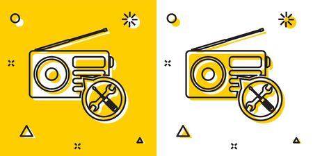 Black Radio with screwdriver and wrench icon isolated on yellow and white background. Adjusting, service, setting, maintenance, repair, fixing. Random dynamic shapes. Vector Illustration