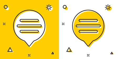 Black Speech bubble chat icon isolated on yellow and white background. Message icon. Communication or comment chat symbol. Random dynamic shapes. Vector Illustration Иллюстрация