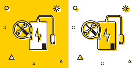 Black Power bank with screwdriver and wrench icon isolated on yellow and white background. Adjusting, service, setting, maintenance, repair, fixing. Random dynamic shapes. Vector Illustration
