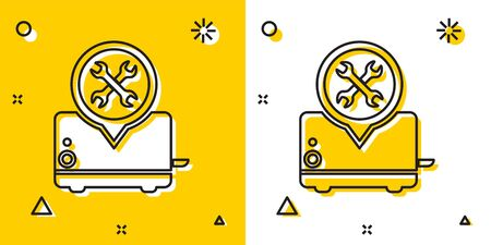 Black Toaster with screwdriver and wrench icon isolated on yellow and white background. Adjusting, service, setting, maintenance, repair, fixing. Random dynamic shapes. Vector Illustration