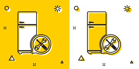 Black Refrigerator with screwdriver and wrench icon isolated on yellow and white background. Adjusting, service, setting, maintenance, repair, fixing. Random dynamic shapes. Vector Illustration