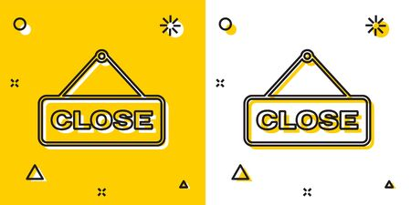 Black Hanging sign with text Close icon isolated on yellow and white background. Business theme for cafe or restaurant. Random dynamic shapes. Vector Illustration Stock Illustratie