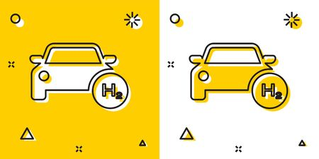 Black Hydrogen car icon isolated on yellow and white background. H2 station sign. Hydrogen fuel cell car eco environment friendly zero emission. Random dynamic shapes. Vector Illustration 矢量图像