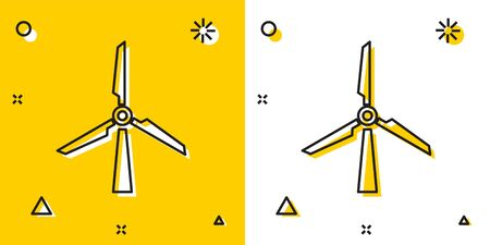 Black Wind turbine icon isolated on yellow and white background. Wind generator sign. Windmill silhouette. Windmill for electric power production. Random dynamic shapes. Vector Illustration