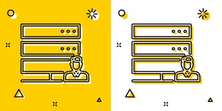 Black Customer care server icon isolated on yellow and white background. Tech support concept with male operator. Call center sign. Random dynamic shapes. Vector Illustration
