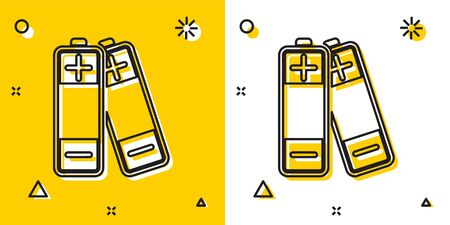 Black Battery icon isolated on yellow and white background. Lightning bolt symbol. Random dynamic shapes. Vector Illustration