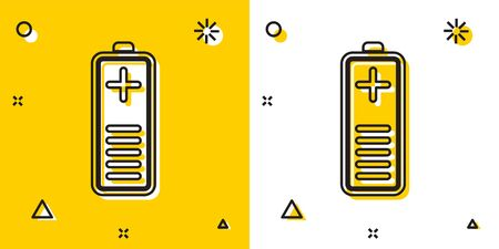 Black Battery charge level indicator icon isolated on yellow and white background. Random dynamic shapes. Vector Illustration