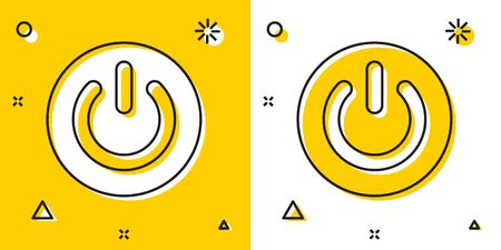 Black Power button icon isolated on yellow and white background. Start sign. Random dynamic shapes. Vector Illustration