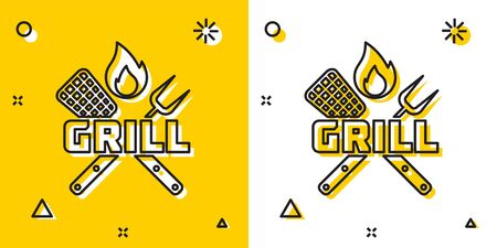 Black Crossed fork and spatula icon isolated on yellow and white background. Fire flame sign. BBQ fork and spatula sign. Barbecue and grill tools. Random dynamic shapes. Vector Illustration
