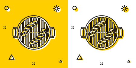 Black Barbecue grill with sausage icon isolated on yellow and white background. BBQ grill party. Random dynamic shapes. Vector Illustration