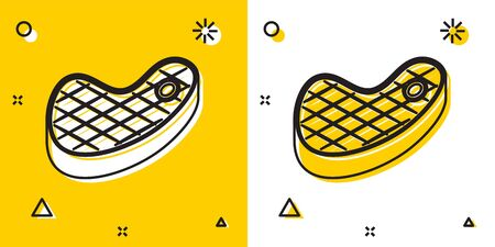 Black Steak meat icon isolated on yellow and white background. Random dynamic shapes. Vector Illustration