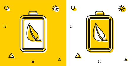 Black Eco nature leaf and battery icon isolated on yellow and white background. Energy based on ecology saving concept. Random dynamic shapes. Vector Illustration