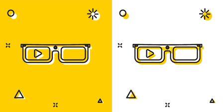 Black Smart glasses mounted on spectacles icon isolated on yellow and white background. Wearable electronics smart glasses with camera and display. Random dynamic shapes. Vector Illustration Illustration