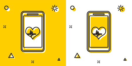 Black Smartphone with heart rate monitor function icon isolated on yellow and white background. Random dynamic shapes. Vector Illustration