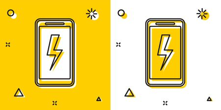 Black Smartphone charging battery icon isolated on yellow and white background. Phone with a low battery charge. Random dynamic shapes. Vector Illustration Иллюстрация