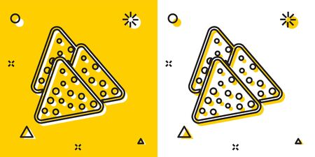 Black Nachos icon isolated on yellow and white background. Tortilla chips or nachos tortillas. Traditional mexican fast food. Random dynamic shapes. Vector Illustration