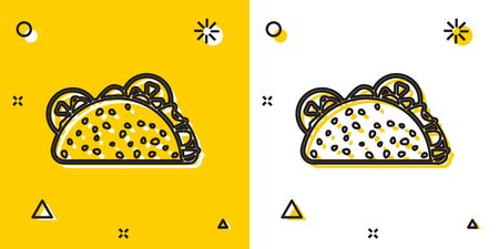 Black Taco with tortilla icon isolated on yellow and white background. Traditional mexican fast food. Random dynamic shapes. Vector Illustration