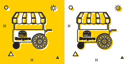 Black Fast street food cart with awning icon isolated on yellow and white background. Burger or hamburger icon. Urban kiosk. Random dynamic shapes. Vector Illustration Stock Illustratie