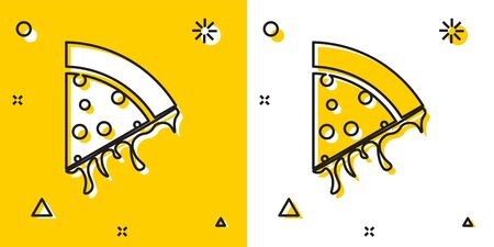 Black Slice of pizza icon isolated on yellow and white background. Random dynamic shapes. Vector Illustration