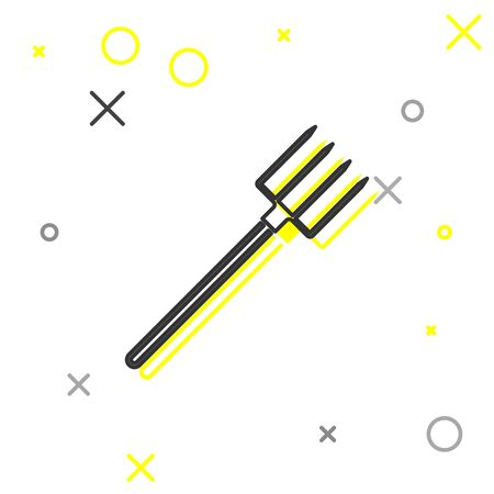 Grey line Garden pitchfork icon isolated on white background. Garden fork sign. Tool for horticulture, agriculture, farming. Vector Illustration