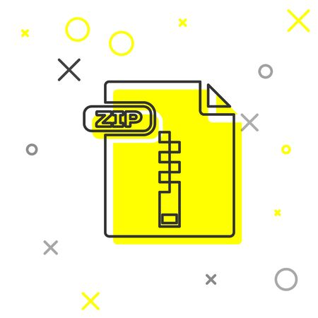 Grey line ZIP file document. Download zip button icon isolated on white background. ZIP file symbol. Vector Illustration