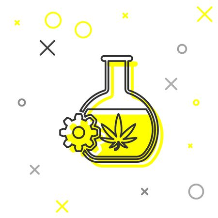Tube à essai chimique de ligne grise avec icône de feuille de marijuana ou de cannabis isolé sur fond blanc. Notion de recherche. Concept d'huile de CBD de laboratoire. Illustration vectorielle Vecteurs