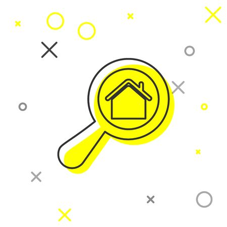 Grey line Search house icon isolated on white background. Real estate symbol of a house under magnifying glass. Vector Illustration Çizim